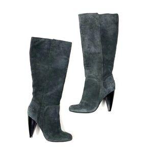 Jessica Simpson 7.5 Suede Boots Gray Heels Calf
